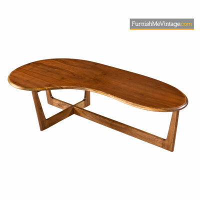 Amoeba Coffee Table - Solid Oak Walnut Boomerang Freefrom Design