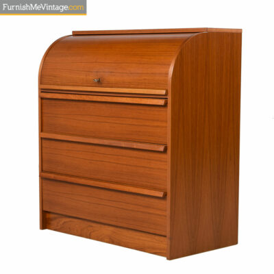 Roll Top Teak Secretary Desk Bureau - Danish Modern