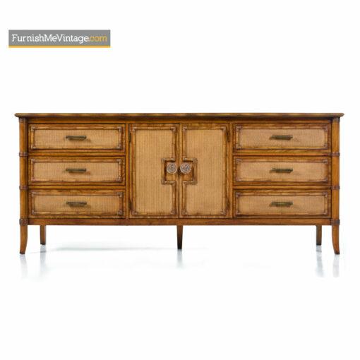 Thomasville Mediterranean Modern Hollywood Regency Oak Rattan Dresser Credenza