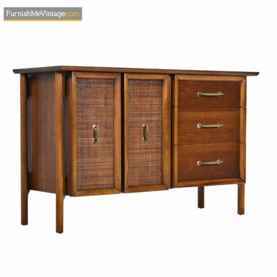 Edmund Spence Style Mid-Century Cane Door Brass Accent Walnut Credenza