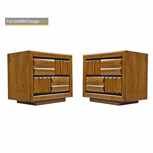 Brutalist Oak Nightstand End Tables by Lane Furniture Company - Mid Century Modern