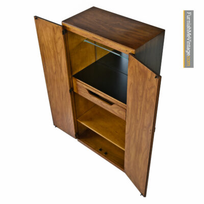 Drexel Heritage Consensus Lighted Bar Cabinet - Pecan Campaign Style