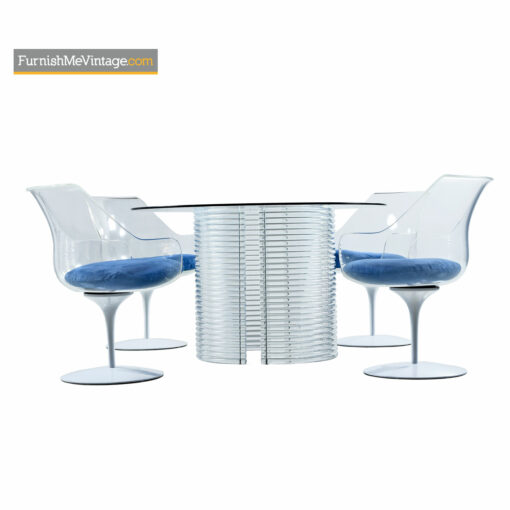 Acrylic Lucite Dining Set - Erwin & Estelle Laverne Champagne Chairs