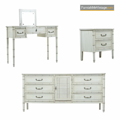 Faux Bamboo Bedroom Set - White Washed Dorothy Draper Style