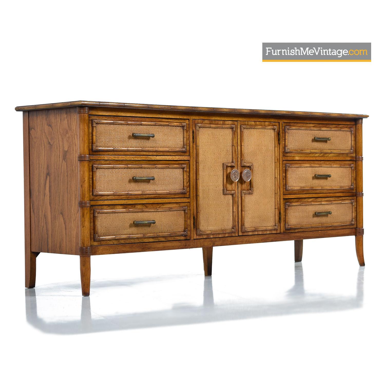 Oak Rattan Dresser Credenza