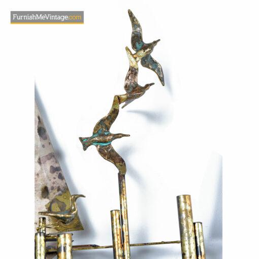 Brutalist Seascape Sailboat Metal Sculpture Wall Art - Paul Evans Style