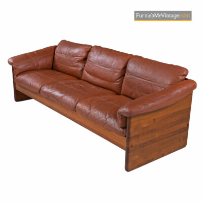 Mikael Laursen Solid Teak Danish Sofa Couch Original Cognac Leather