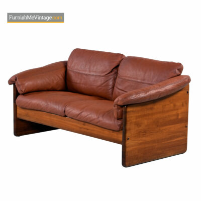 Mikael Laursen Solid Teak Danish Loveseat Sofa Original Cognac Leather