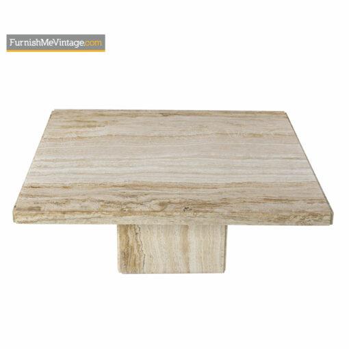 Maitland Smith style Marble Travertine Pedestal Coffee Table - Mid-Century Modern