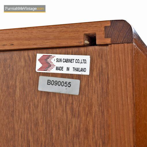 Teak Tambour Media Cabinet Credenza - Danish Modern