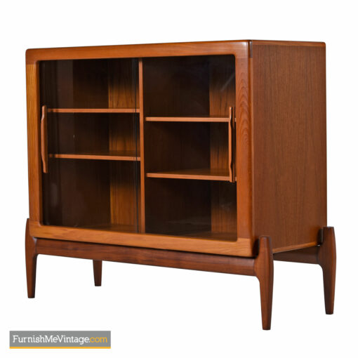 Teak Display Cabinet Hutch Bookcase With Carved Danish Teak Pulls