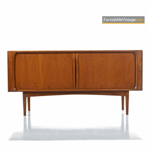 "Scandinavian Modern Danish Teak Tambour Door Credenza By Bernhard Pedersen & Son. Perfect For a TV Stand Media Cabinet To Store Hundreds of 12"" Records"