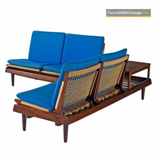 Teak Afrormosia Hans Olsen TV 161 Modular Seating & End Table Sofa Set by Bramin