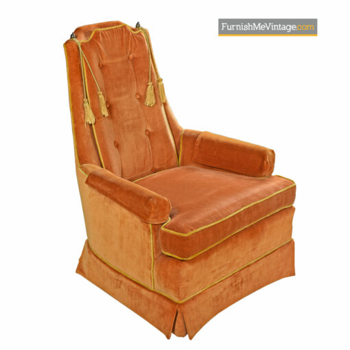 High Back Lounge Chair Set by McAfee - Yellow Orange Tufted Velvet
