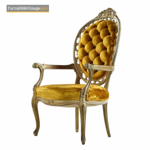 Hollywood Regency Louis XV Style Gold Velvet Deep Tufted Armchairs