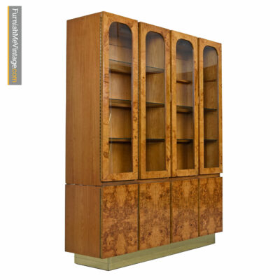 Hollywood Regency Burl Maple Milo Baughman Style China Hutch