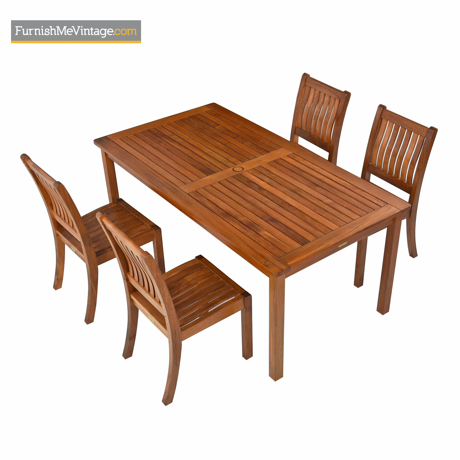 Restoration Hardware Solid Teak Outdoor Dining Table 4 Chair Set
