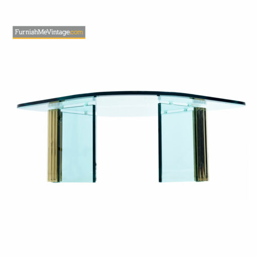 Leon Rosen Pace Collection Scalloped Brass Glass Coffee Table