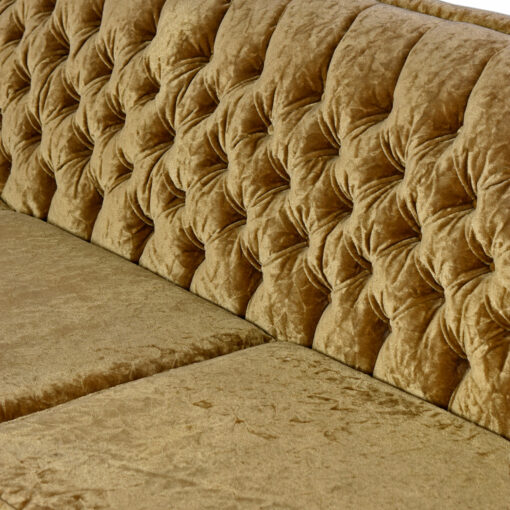 Hollywood Regency Art Deco Sofa - Mint Condition Bronze Gold Velour Tufted Fanned Shell