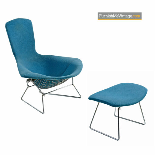 Bird Chair & Ottoman by Harry Bertoia For Knoll - Original Blue Fabric