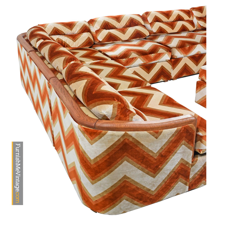 Picture of: Orange Velour Sofa Chevron Pit Group Sectional Milo Baughman Style