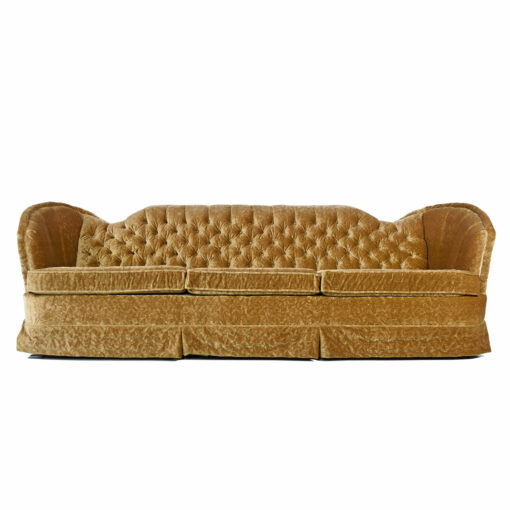 Art Deco Sofa - Mint Condition Bronze Gold Velour Tufted Fanned Shell