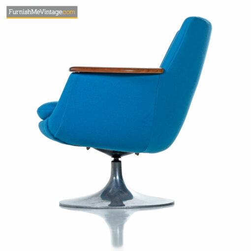 Hong Stole Danish Tulip Base Teak Arm Pod Chair in Blue Knoll Wool
