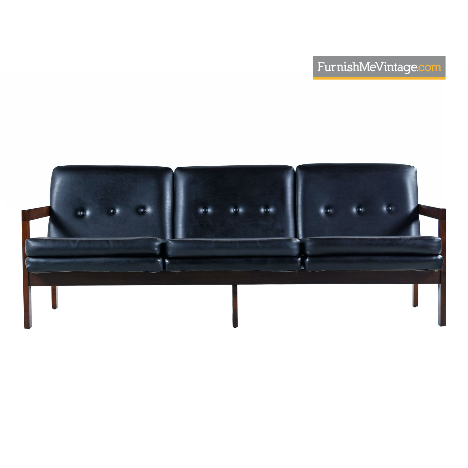 Beech Wood Mid-Century Modern Black Leather Sofa Couch With Button Tufted  Backs
