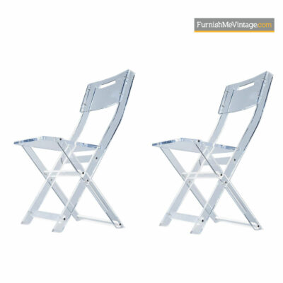 Philippe Starck Style Lucite Folding Chair Set - Mid Century Modern Solid Acrylic