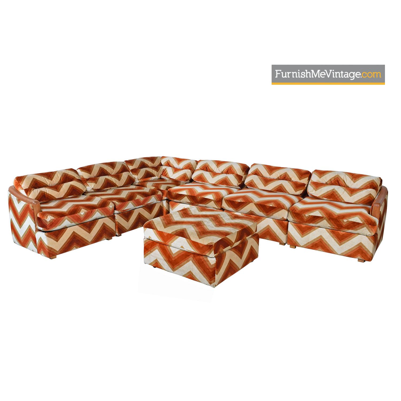 Milo Baughman Style Velour Chevron Modular Sofa Pit Group