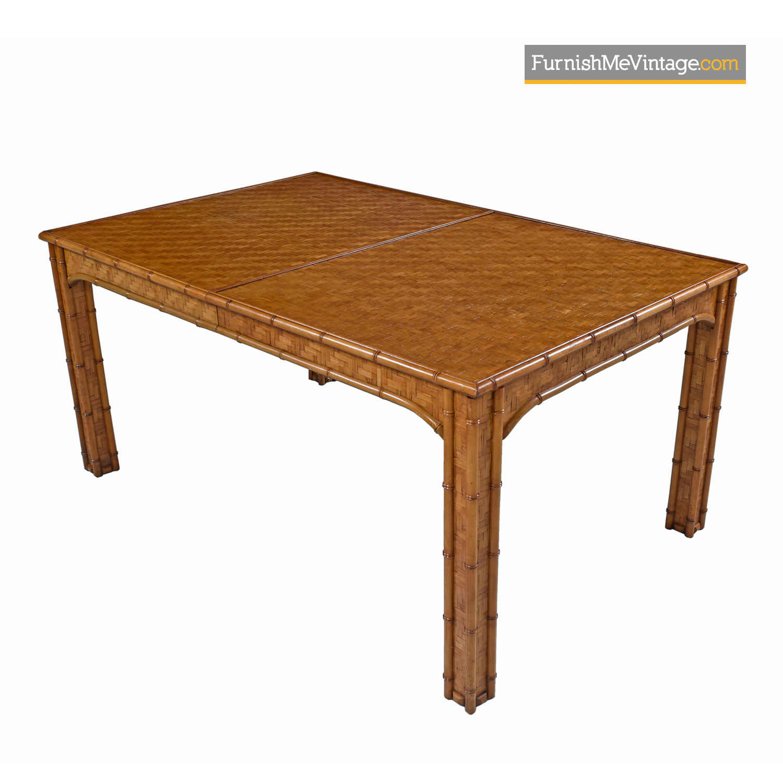 Parsons Style Rattan Basket Weave Parquet Dining Table