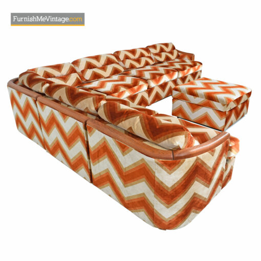 Orange Velour Sofa Chevron Pit Group Sectional - Milo Baughman Style