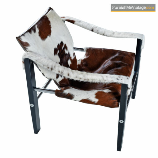 Mid-Century Modern Chrome 1970's Sling Lounge Arkana Safari Chair by Maurice Burke in New Cowhide Leather Made in the United Kingdom