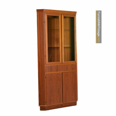 Danish Teak Corner Cabinet Lighted Display by Skovby Circa 1970s
