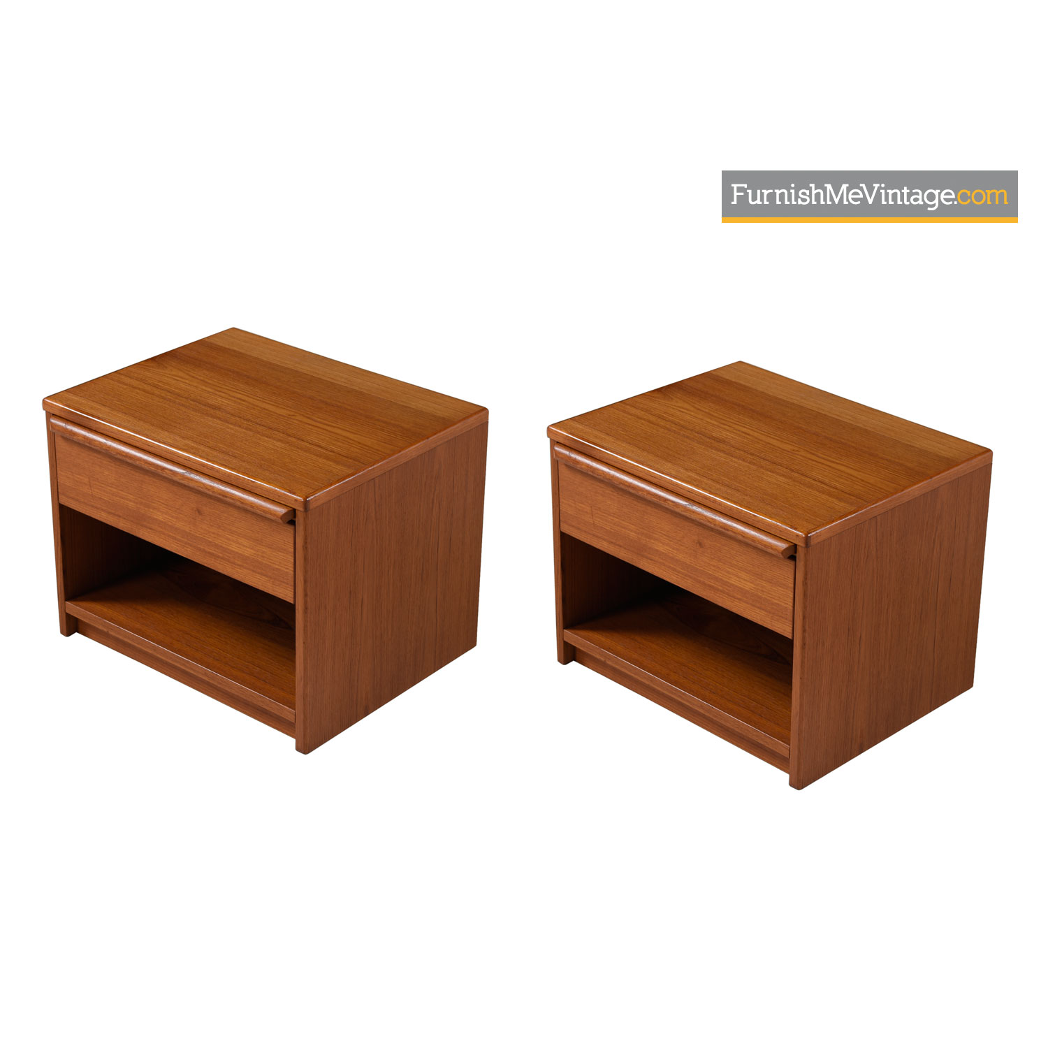 Danish Teak Nightstand End Tables With Pull Out Shelf