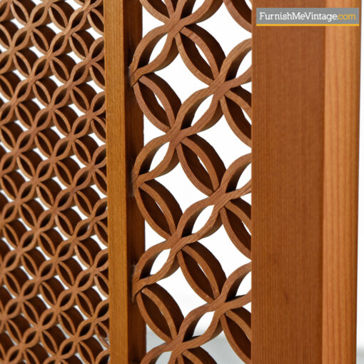 Teak Screen Mid-Century Five Panel Folding Room Divider