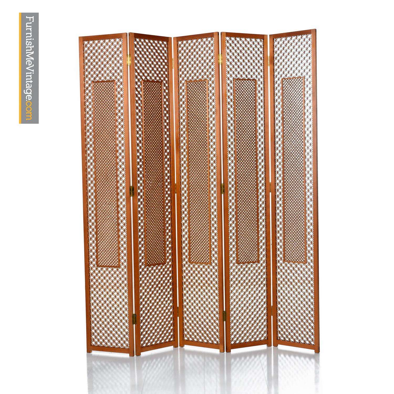 Teak Screen Mid Century Five Panel Folding Room Divider
