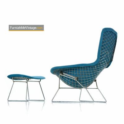 Bird Chair & Ottoman by Harry Bertoia For Knoll - Original Blue Fabric