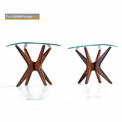 Craft Associates Adrian Pearsall Jacks End Table Set - Walnut & Glass
