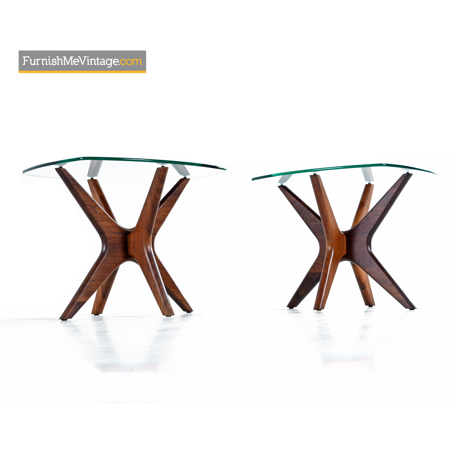 Adrian Pearsall Jacks End Table Set Walnut Glass