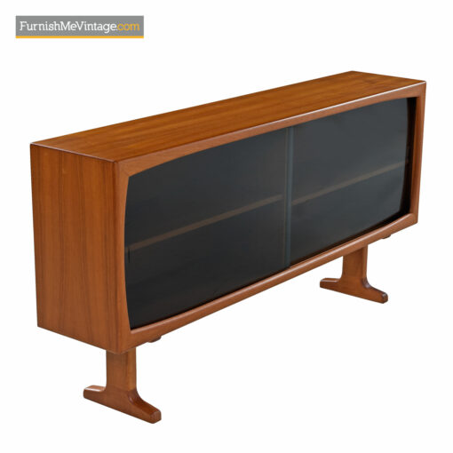 Danish Teak Console Bookcase Display Cabinet With Smoked Glass