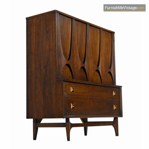 Walnut Brasilia Gentlemans Dresser Chest by Oscar Niemeyer For Broyhill