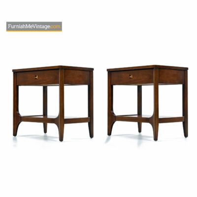 Brasilia Nightstand End Tables in Walnut by Oscar Niemeyer for Broyhill