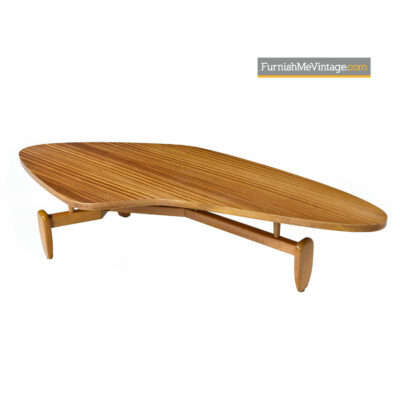 John Keal Outrigger Mahogany Biomorphic Boomerang Coffee Table for Brown-Saltman