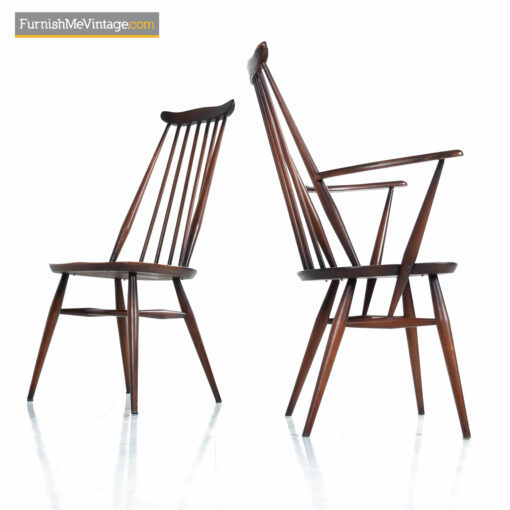 Ercol Windsor Dining Chairs - English Mid-Century Spindle Back Set of 6