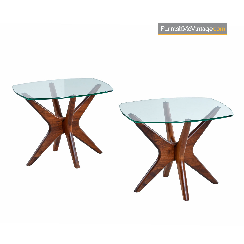 Adrian Pearsall Jacks End Table Set Walnut Glass