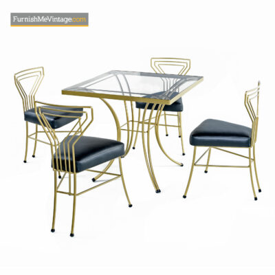 Deco Modern Patio Dinette - Salterini Style Gilt Metal & Glass