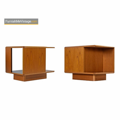 Danish Teak Nightstands With Bookshelf Storage by Sannemann