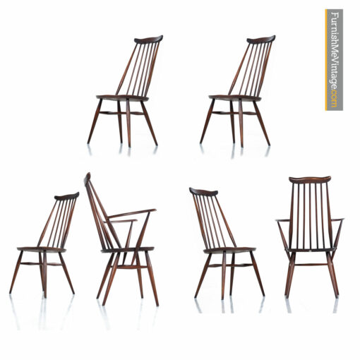 Lucian Ercolani Ercol Windsor Dining Chairs - English Mid-Century Spindle Back Set of 6