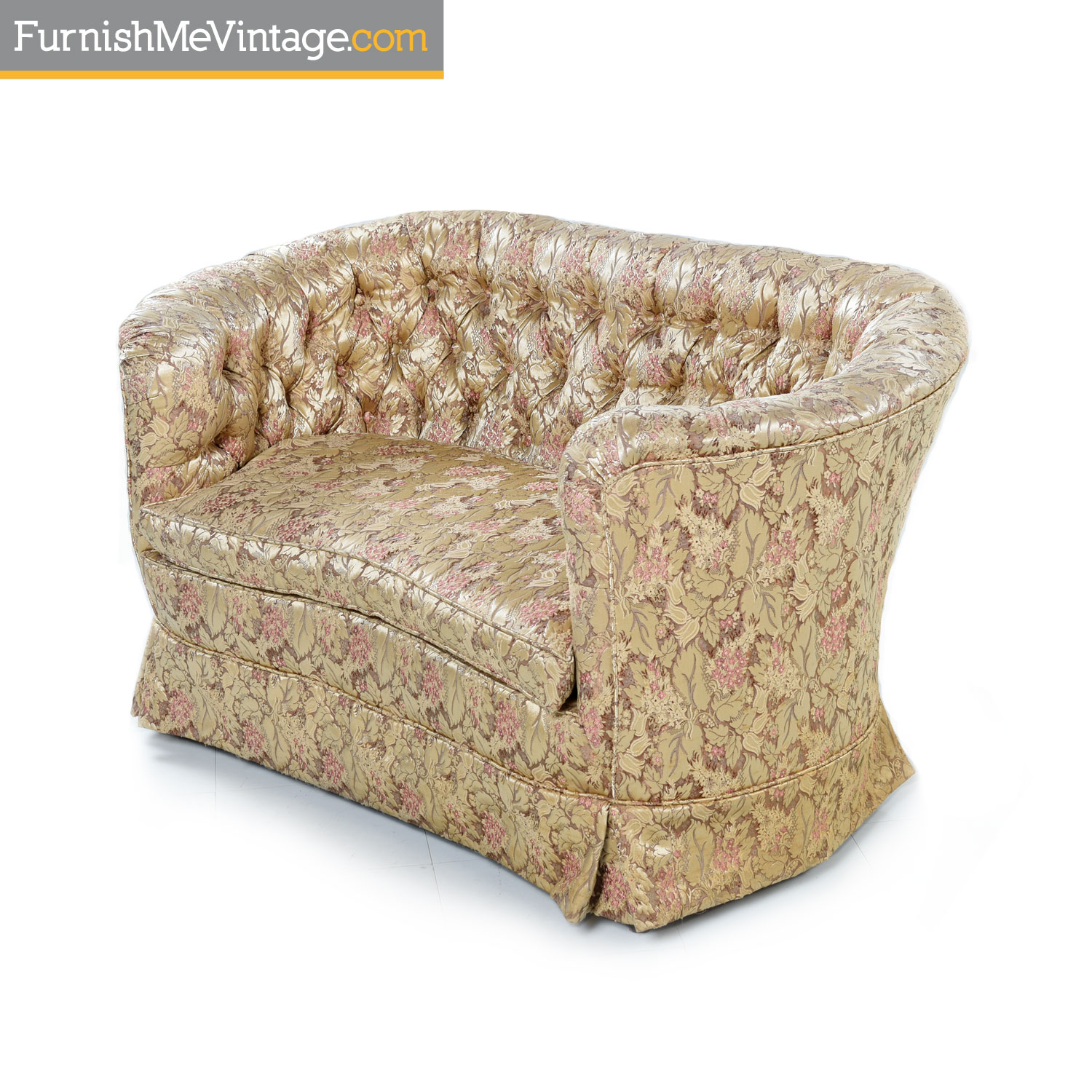Enjoyable Antique Bohemian Victorian Rose Gold And Beige Floral Settee Caraccident5 Cool Chair Designs And Ideas Caraccident5Info